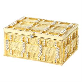 -,CARLYLE BOX IN GOLD WITH CLEAR CRYSTALS WITH ENAMELED INTERIOR