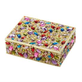 "-,DOMINIQUE BOX IN GOLD WITH MULTICOLORED CRYSTALS AND ENAMELED INTERIOR. 4.75"" LONG, 3.5"" WIDE, 1.5"" TALL"