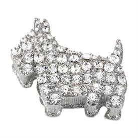 -,LILLIAN DOG BOX. SILVER FINISHED PEWTER WITH CLEAR CRYSTALS & ENAMELED INTERIOR.