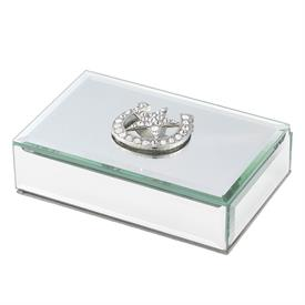 "_,HORSESHOE & STAR BOX. MIRRORED GLASS W/ SILVER FINISHED CAST PEWTER DETAILS HAND-SET W/ EUROPEAN CRYSTALS. 6""L, 4""W, 1.75""T. MSRP $100.00"