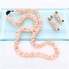 ",ANGEL SKIN CORAL GRADUATED NECKLACE & EARRING SET. NECKLACE MEASURES 18.5"" LONG. EARRINGS MEASURE 1.5"" LONG"