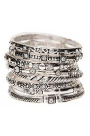 _ASSORTED STACKABLE SILVER ABSTRACT PATTERN BANGLES
