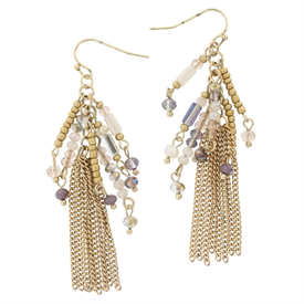 -NATURAL METAL & BEAD TASSEL EARRINGS