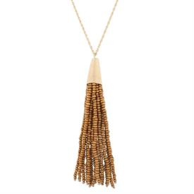 "-BROWN & GOLD TASSEL NECKLACE, 30"" CHAIN"