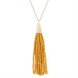 "-MUSTARD & GOLD CHAIN NECKLACE, 30"" CHAIN"