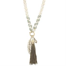 "-FEATHER & TASSEL IN GREEN & NATURAL ADJUSTABLE NECKLACE (36"" SINGLE OR 18"" DOUBLE CHAIN)"