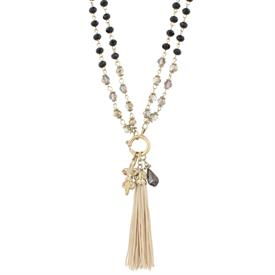 "-BLACK & CREAM FLEUR DE LIS & TASSEL ADJUSTABLE NECKLACE (36"" SINGLE OR 18"" DOUBLE CHAIN)"