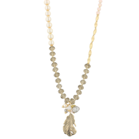 """-PEARL & FEATHER 36"""" STRETCH NECKLACE"""