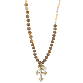"-GOLD & CROSS 36"" STRETCH NECKLACE"
