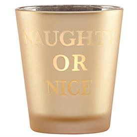 _VOTIVE GOLDEN HOLIDAYS NAUGHTY OR NICE CANDLE HOLDER