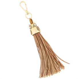 -TAN & GOLD OWL TASSEL, 8""