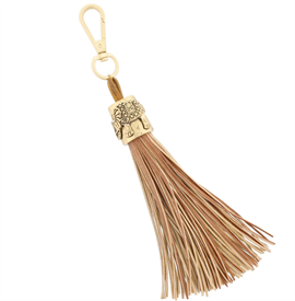 -TAN & GOLD ELEPHANT TASSEL, 8""