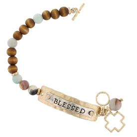 -BLESSED PLAQUE WOOD & STONE TOGGLE BRACELET