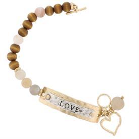 -LOVE PLAQUE WOOD & STONE TOGGLE BRACELET