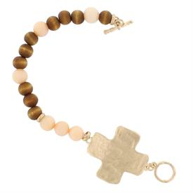 -CORAL STONES & WOOD BEADS CROSS TOGGLE BRACELET