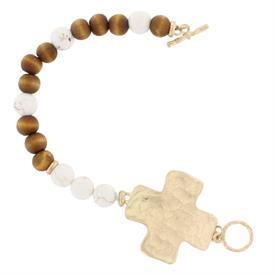 -NATURAL STONES & WOOD BEADS CROSS TOGGLE BRACELET