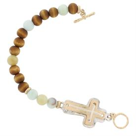 -ASSORTED STONES & WOOD BEADS CROSS TOGGLE BRACELET