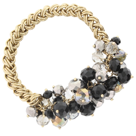 -JET BEADED CLUSTER ON GOLD CHAIN BRACELET