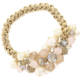 -TOPAZ BEADED CLUSTER ON GOLD CHAIN BRACELET