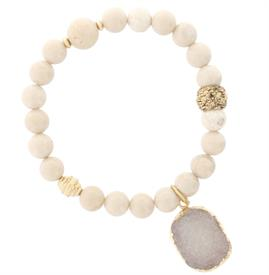 -NATURAL STONE BEADS & DRUZY STONE STRETCH BRACELET