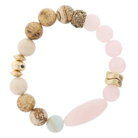 -ROSE QUARTZ, PICTURE JASPER, & ASSORTED STONE BEADS STRETCH BRACELET