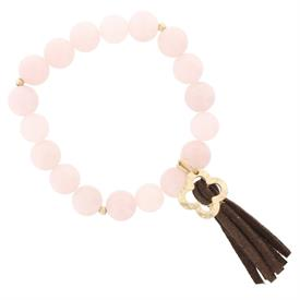 -ROSE QUARTZ BEAD & TASSEL STRETCH BRACELET
