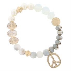 -GREY, PEARL & OPALESCENT BEADS & PEACE SIGN CHARM STRETCH BRACELET