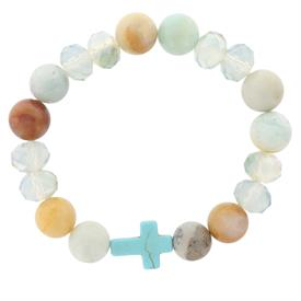 -MIXED BEADS & TURQUOISE CROSS STRETCH BRACELET