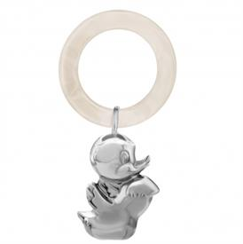 -GI0071A DUCK WHITE TEETHING RING RATTLE