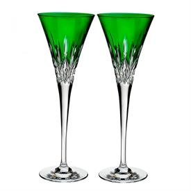 -SET OF 2 EMERALD TOASTING FLUTES