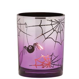 _GLASS SPIDER VOTIVE HOLDER IN PURPLE & BLACK