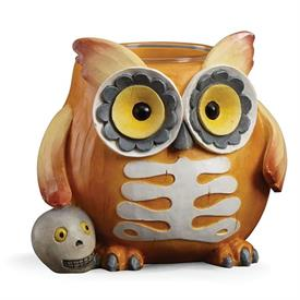 "_HALLOWEEN SKELETON OWL VOTIVE HOLDER. 3.5"" TALL. MSRP $37.00"