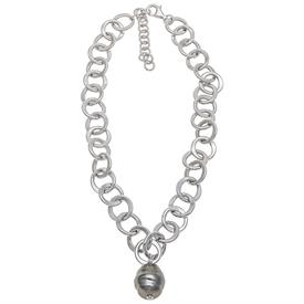 ",_70139BS 16"" CHAIN WITH BLACK BAROQUE PEARL DROP"