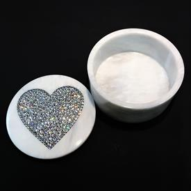 "-,ROUND MARBLE BOX WITH SWAROVSKI CRYSTAL HEART. 5"" WIDE, 2.5"" TALL"