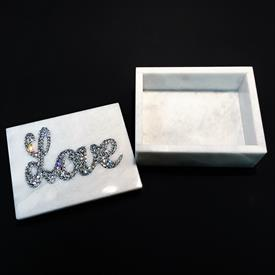 "-,RECTANGLE MARBLE BOX WITH SWAROVSKI CRYSTAL 'LOVE'. 5"" LONG, 4"" WIDE, 2"" TALL"