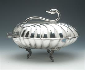 "SWAN BOWL 12"" ACROSS BY 7"" TALL SILVER PLATED"