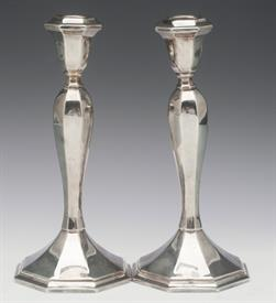 "PAIR OF WALLACE 5010 SILVER PLATED CANDLESTICKS 8-1/4"" TALL VERY HEAVY WEIGHT"