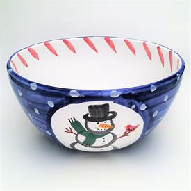 """,PRESENT TENSE 'SNOWMAN' SERVING BOWL. MADE IN ITALY. 12"""" WIDE, 5.75"""" TALL. CA. 1999-2003"""