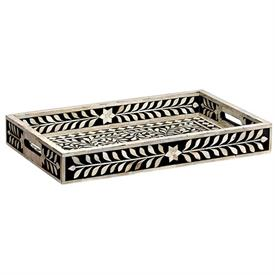 ,_LARGE DECORATIVE TRAY. NATURAL WOOD & BONE HAND INLAID IN A PATTERN INSPIRED BY THE MAJESTIC BEAUTY OF THE BRITISH RAJ. 22 X 14 X 13""