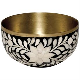 ",_NUT BOWL. NATURAL WOOD & BONE HAND SET IN AN EXOTIC PATTERN INSPIRED BY THE BRITISH RAJ & LINED W/ RECYCLED BRASS. 6"" X 3.25"""