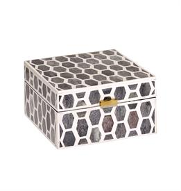 ",_LARGE BOX WITH MIRRORED LID. NATURAL BONE HAND SET IN A HONEYCOMB PATTERN. 6"" X 6"""