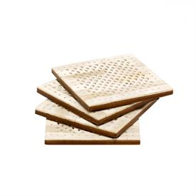 ,_SET OF 4 SQUARE COASTERS. HANDCRAFTED FROM NATURAL IVORY BONE WITH A DETAILED PIERCED DESIGN INSPIRED BY ITS NAMESAKE CHATEAU.