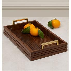 ",_MEDIUM DECORATIVE TRAY. NATURAL SHEESHAM WOOD HAND CRAFTED IN A LATTICE DESIGN WITH BRASS HANDLES. 16"" X 12"""