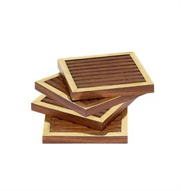 ,_SET OF 4 SQUARE COASTERS. HANDCRAFTED WITH NATURAL SHEESHAM WOOD & BRASS.