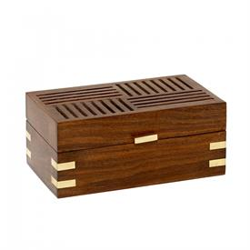 ",_MEDIUM DECORATIVE BOX WITH REMOVABLE COMPARTMENT TRAY. HANDCRAFTED WITH NATURAL SHEESHAM WOOD & BRASS. 7.5"" X 4.5"" X 3"""