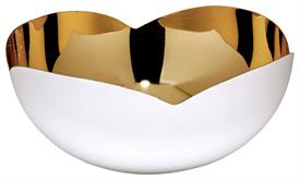"_SMALL BOWL, INSPIRED BY MID CENTURY MODERN AESTHETICS, MADE OF SPARKLING RECYCLED BRASS WITH A CRISP WHITE EXTERIOR. 6"" X 2.75"""