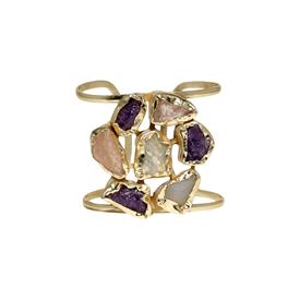 ,-CUFF BRACELET SET WITH SOFTLY COLORED QUARTZ STONES IN A 14K GOLD PLATED BRASS SETTING.