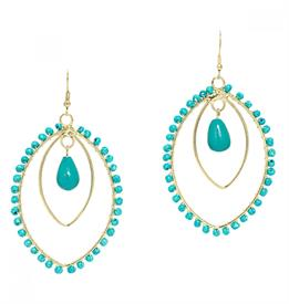 ,-TURQUOISE BLUE GLASS BEADS ON LEAF SHAPED BRASS DANGLES
