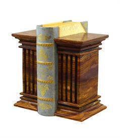 _SAFFRON BROWN ONYX 'RENAISSANCE' MARBLE BOOKENDS
