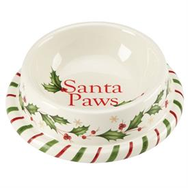 "_SMALL PET BOWL, 6.25"" WIDE. 'SANTA PAWS'. MSRP $40.00"